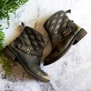 Lucky Brand   Distressed Black Leather Nordic Boot